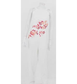 BNWT Little Mistress Size 16 Ivory Embroidered Coral Floral Jumpsuit