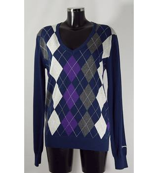 Slazenger Argyle Golf Jumper - Multicoloured - Size 16 Slazenger - Size: 16 - Multi-coloured