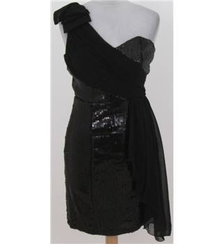BNWT Little Mistress size: 10 black one shouldered sequinned short dress