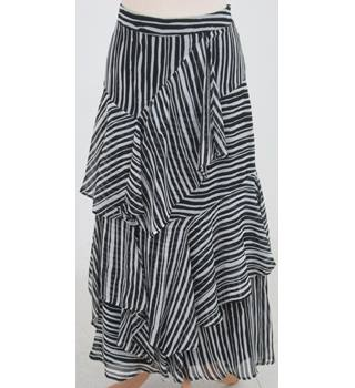 NWOT M&S Collection, size 10R black & white striped tiered maxi skirt