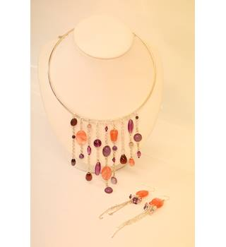 Pink and Purple Necklace & Earring Set Unbranded - Size: Medium - Purple - Necklace