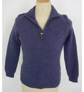 "Polo (Ralph Lauren)  Size:  12, 35.5"" chest Purple Mix Casual/Stylish Wool 1/4 Zip Neck Long Sleeve Designer Cardigan"