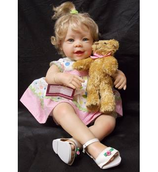 "Ashton Drake Galleries ""Beary Sweet Messages"" real touch collectable doll"