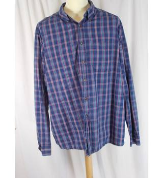 M&S Blue Harbour - Size XXL - Blue Checkered Shirt