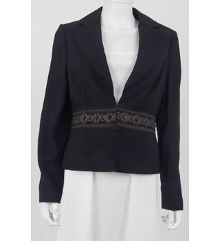 M&S Marks & Spencer Size: 12 Black Embellished Blazer/Jacket
