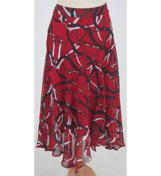 NWOT: Per Una Size 12: Red mix a-line handkerchief hem skirt