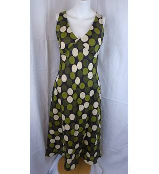 HOBBS GREEN SPOTTED DRESS, SIZE 10 Hobbs - Size: 10 - Green