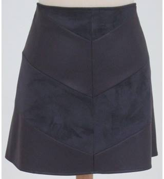 NWOT: M&S Collection: Size 14:  Purple chevron faux suede/leather mini skirt