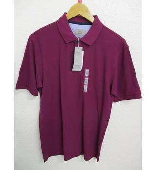 BNWT M&S Purple Pure Cotton Textured Polo Shirt - Small