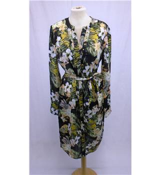 NWOT Per Una - Size 10 - Black with White and Yellow Floral Pattern Dress