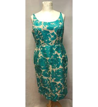L.K. Bennett Size 16 Green and Beige Abstract Patterned Sleeveless Dress