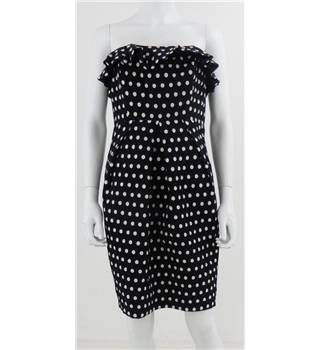 NWOT M&S Autograph Size 12 Black with white Polka Dot Strapless Dress.