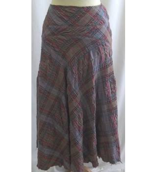 Jigsaw - Size 14 - Brown/purple/red check pattern long skirt