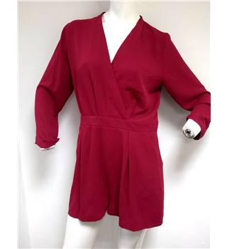 BNWT  Top Shop Size 14 Claret Red Playsuit