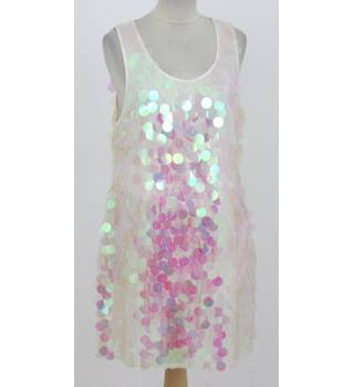 Topshop: Size 16: Ivory all over sequined tunic dress