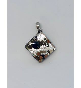 Silver Coloured Pendant with Multicoloured Speckles