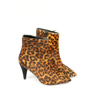 Leopard-Print Stiletto Heel Piont Toe Ankle Boots M&S Marks & Spencer - Size: 3.5 - Multi-coloured