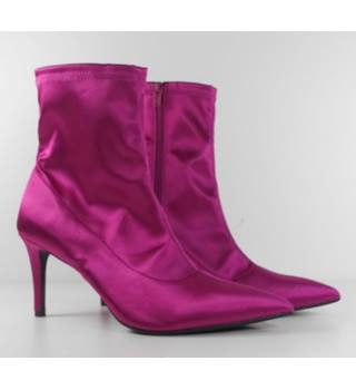 Marks & Spencer Hot Pink Stiletto Heel Stretch Ankle Boots Size 6