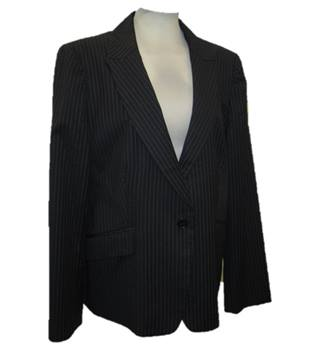 Jaeger - Size: UK14 - Black, white pinstriped - Suit Jacket - Single breasted