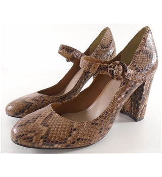 NWOT Autograph, size 3 tan leather snake skin block heeled Mary janes