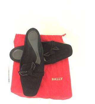 Bally, size 5/38 black suede slip on shoes