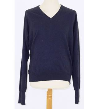 Marco Fiori 100% Pure New Wool Navy Blue V Neck Sweater