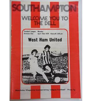 Southampton v West Ham United. 15th April 1974