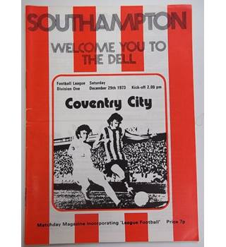 Southampton v Coventry City. 29th December 1973