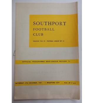 Southport v Bradford City. 27th December 1969