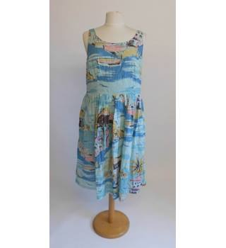 Boden Size 16 Blue Dress 100% cotton