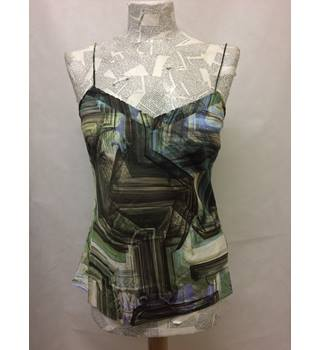 BNWT TED BAKER Strappy Blue and Green print Vest Top Size M