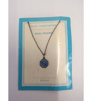 St Christopher real blue enamel necklace Saint Christopher - Size: Small - Metallics - Chain