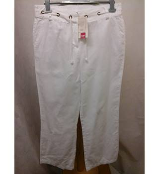 BNWT Cotton traders - Size:14 - White linen blend trousers