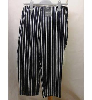 NEW without tags M&S Marks & Spencer - Size: 14 - Multi-coloured stripey cotton stretch calf length trousers