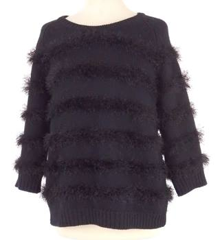 Whistles Size 12 Black Eyelash Fringe Wool Mix Jumper