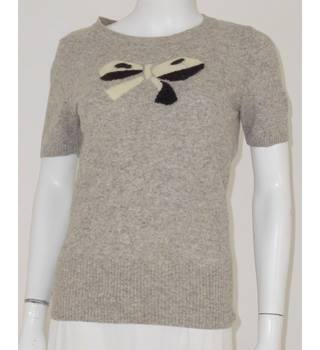 Next Size 10 Grey Bow Detail Short Sleeved Wool Mix Jumper
