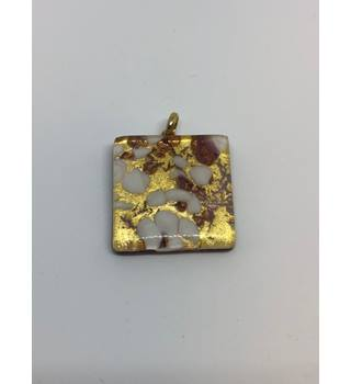 Gold Coloured Pendant with Multicoloured Speckles