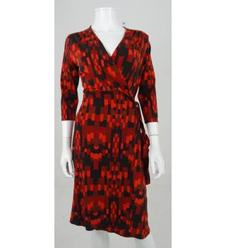 Phase Eight Size 12 Black & Red Wrap Dress
