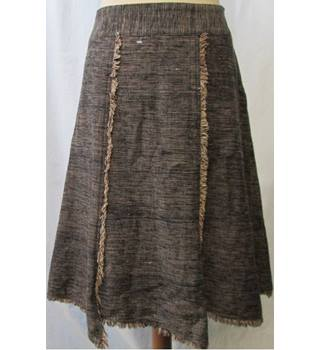 People Tree - Size: 14 - Beige/Black Fringed - A-line skirt