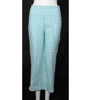 Boden - Size: 14R - Powder Blue/White - Gingham Check - 100% Linen - Trousers