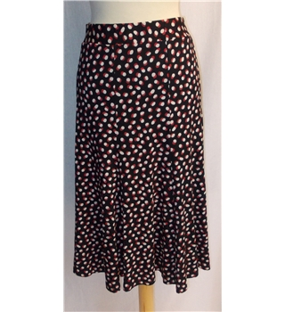 M&S Marks & Spencer Size 16 - Black with Red and Beige Pattern Pannelled Skirt