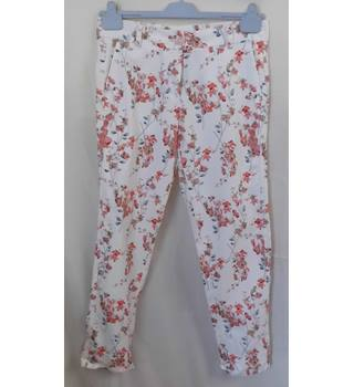 NWOT M&S Women Size 10 Cream with Pink and Grey Floral Trousers