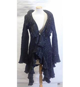 Nikkialo size 12 black and silver ruffled cardigan