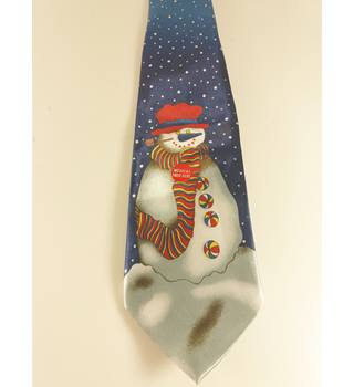Funtyme Novelty Snowman Blue Tie With Musical Button