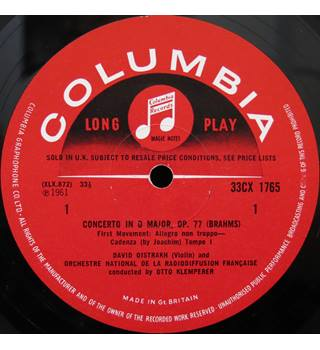 Brahms Violin Concerto in D major. David Oistrakh/Otto Klemperer/French National Radio Orchestra. Columbia 33CX1765