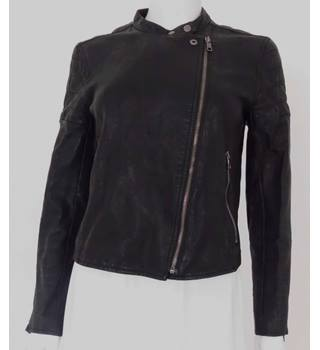 Armani Exchange - size 10, black faux leather jacket