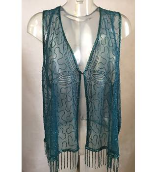 Beaded Waistcoat in Teal Size 28-30 Unbranded - Green