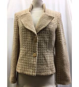 Michel Ambers Size 14 Cream and Beige Hounds-tooth Patterned Jacket