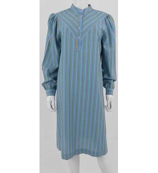 Vintage 1980's St Michael Size: 14 - Blue Long Sleeved Shirt Dress