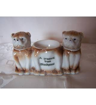 "Victorian Souvenir Ware Bulldog Egg Holder with Salt & Pepper Shakers ""A Present from Blackpool"""